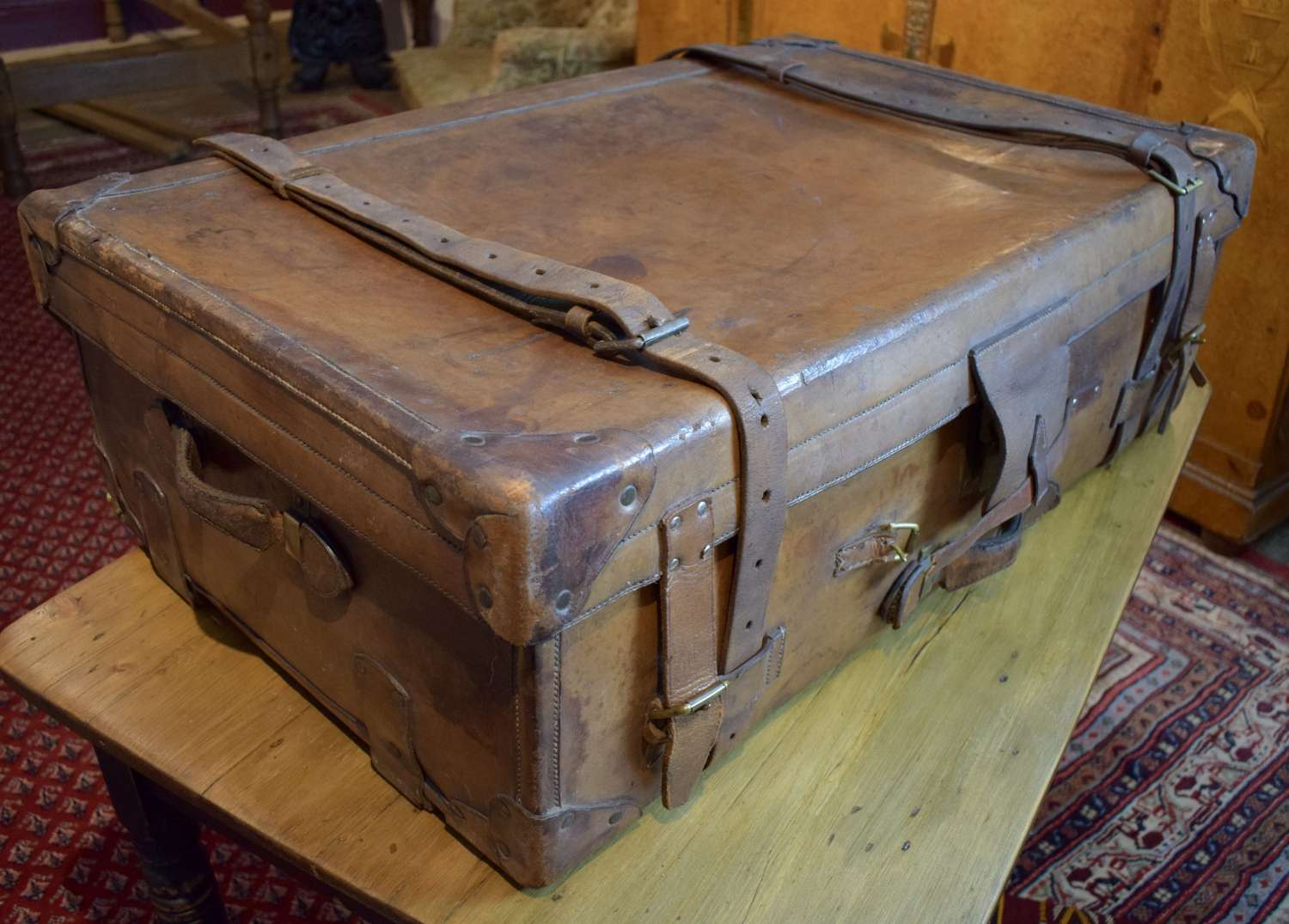 Exceptional Quality Antique Leather Suitcase