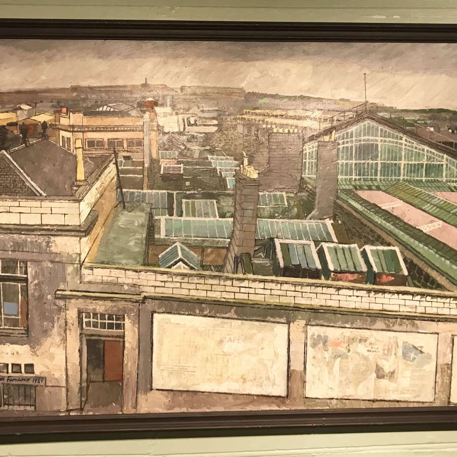James Furneaux 'Joint Station' Aberdeen, Oil and Collage on Panel