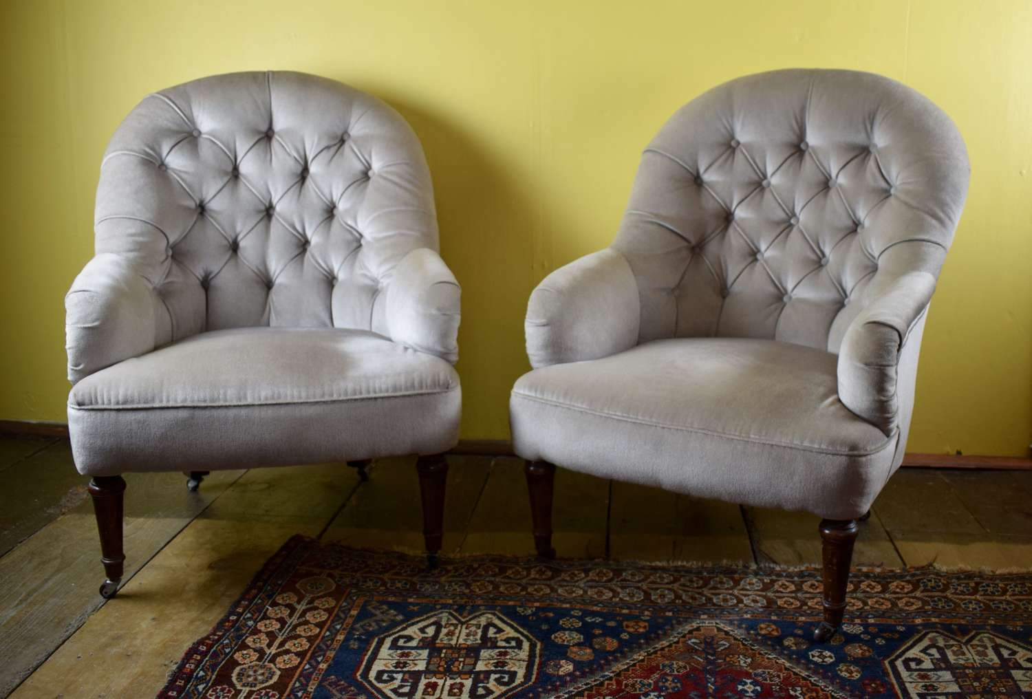 Pair of French Button Back Tub Armchairs
