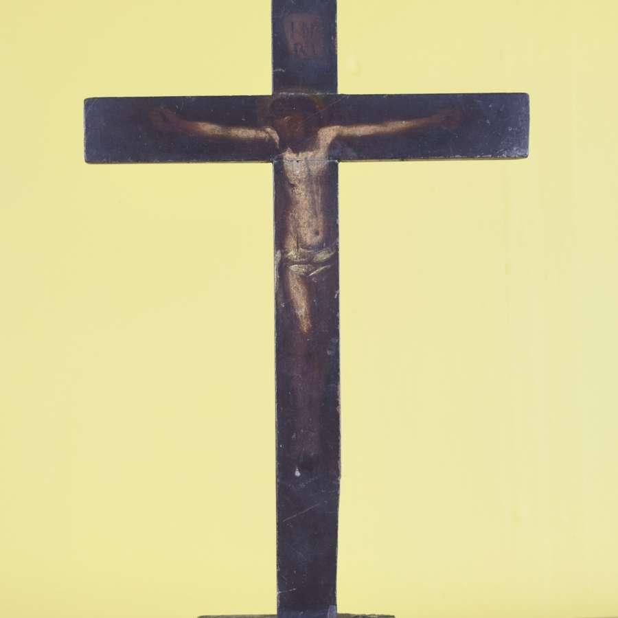 18th Century Hand Painted Iberian Crucifix
