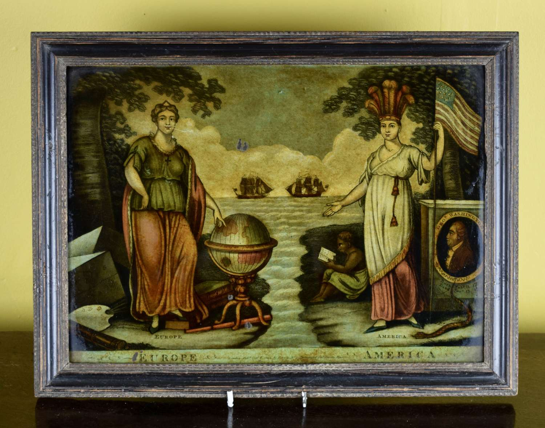 Regency Reverse Glass Mezzotint 'Europe & America'