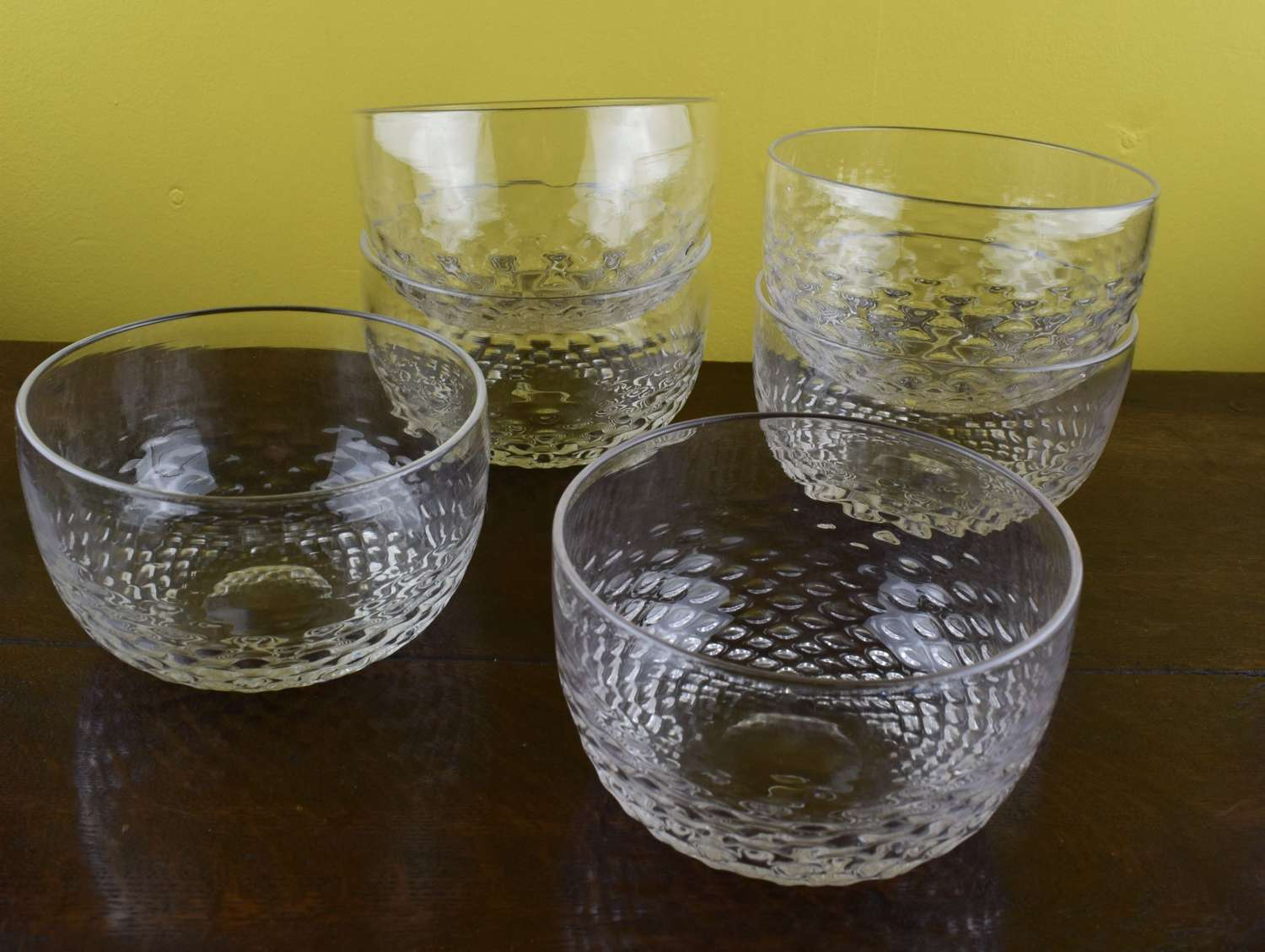 Set of Six Victorian Blown Glass Finger Bowls with Honeycomb Moulding
