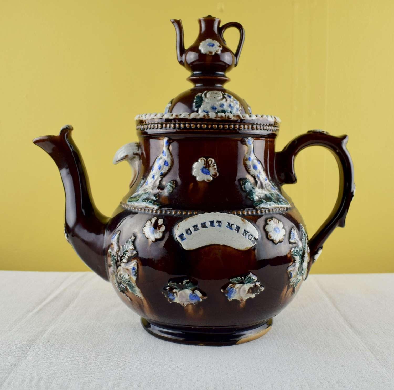 Measham Bargeware Folk Art'Forget Me Not' Teapot