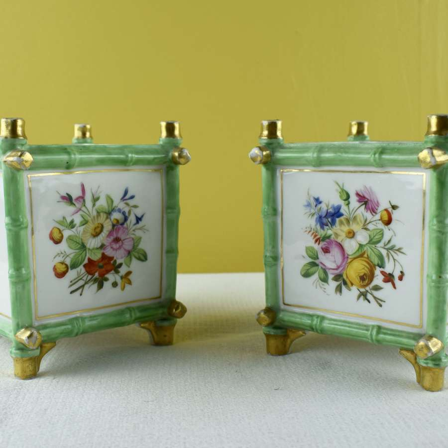 Pair of French Porcelain Cache Pots