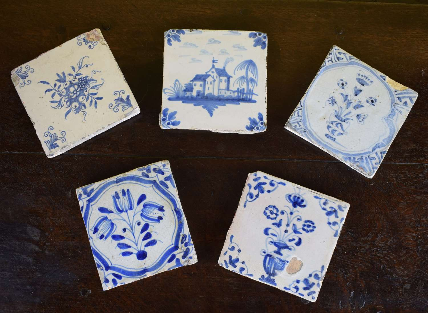 Five Various Delft Blue & White Tiles