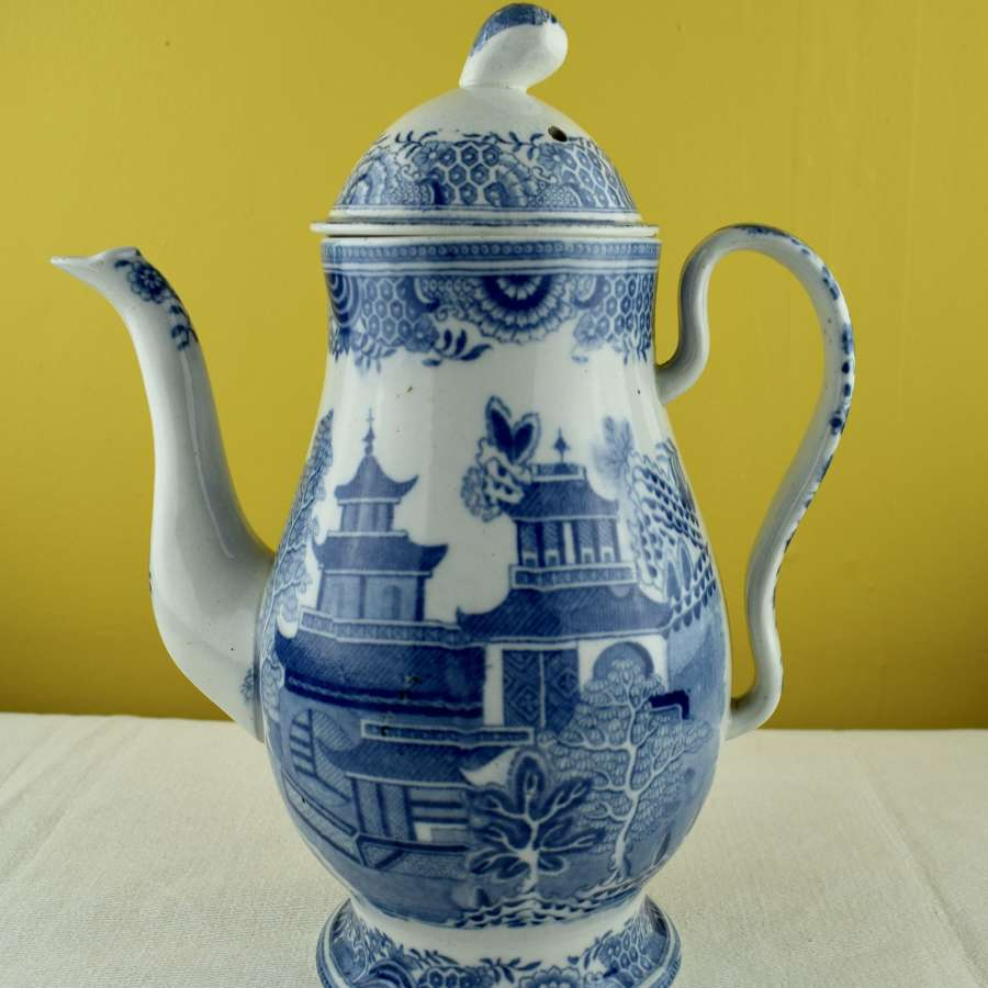 Blue & White Pearlware Coffee Pot circa 1790