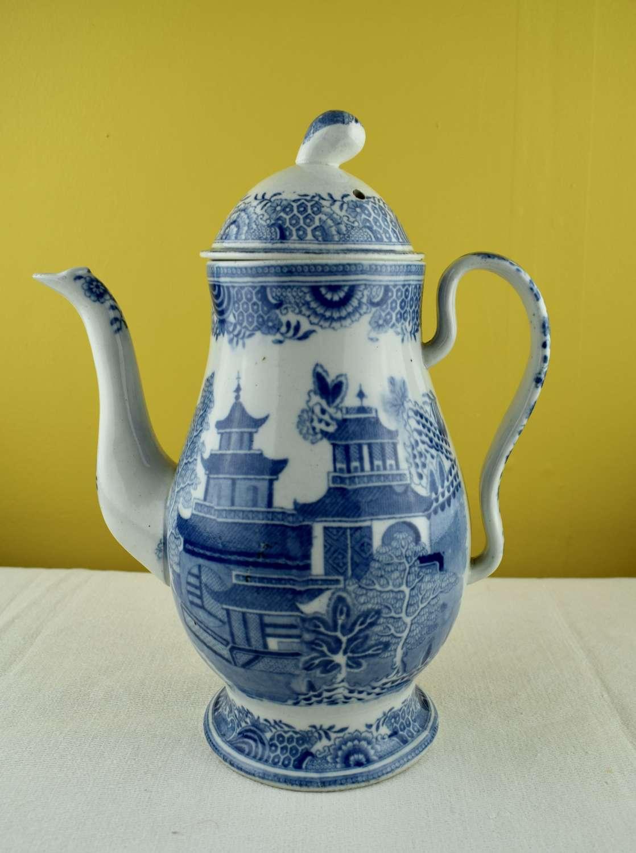 Blue & White Pearlware Coffee Pot circa 1790