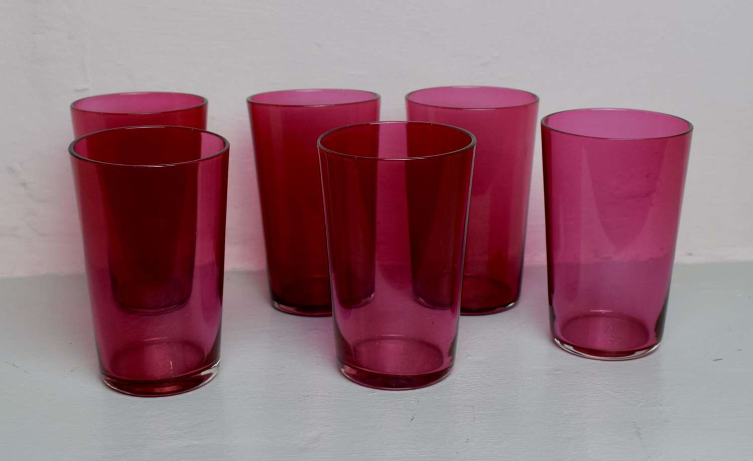 Set of Six Victorian Cranberry Glass Tumblers