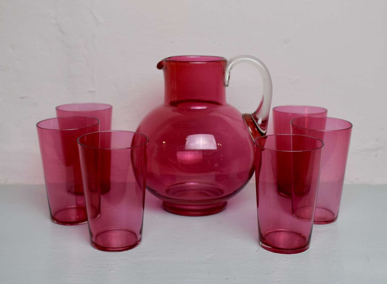 Victorian Cranberry Glass Water Jug & Tumblers