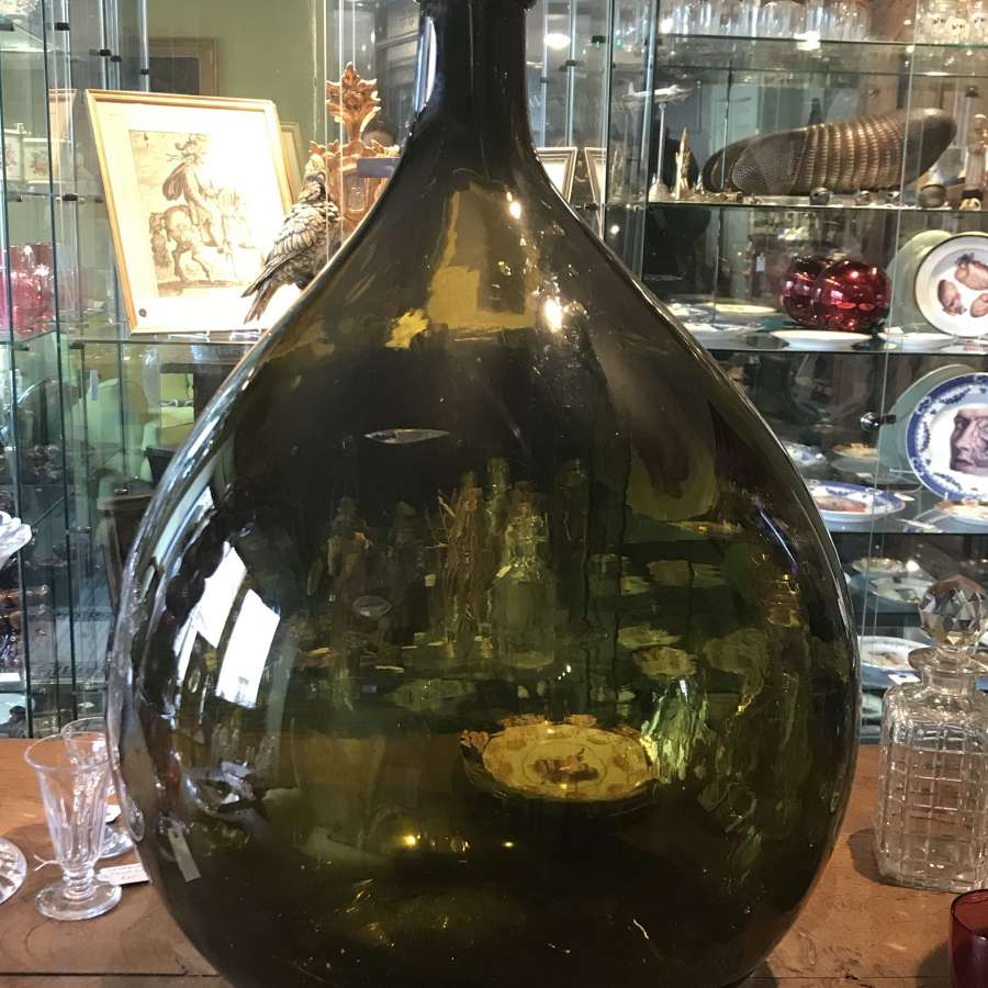 19th Century Green Glass Carboy