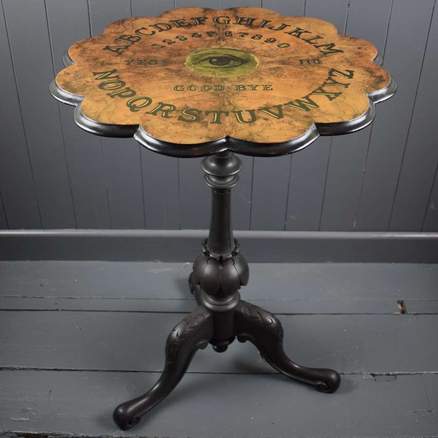 Victorian Burr Walnut Ouija Board Table