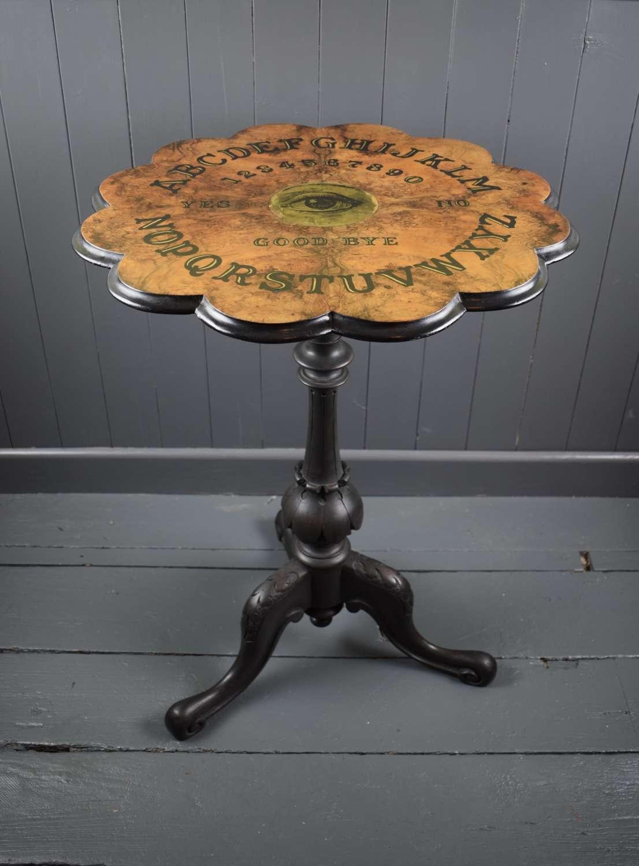 Victorian Burr Walnut Ouija Board Table