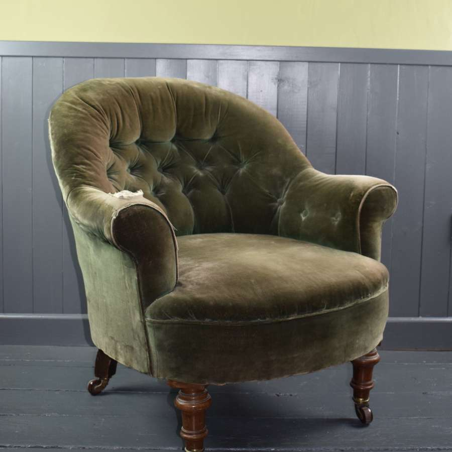Antique Victorian Button Back Armchair for recovering