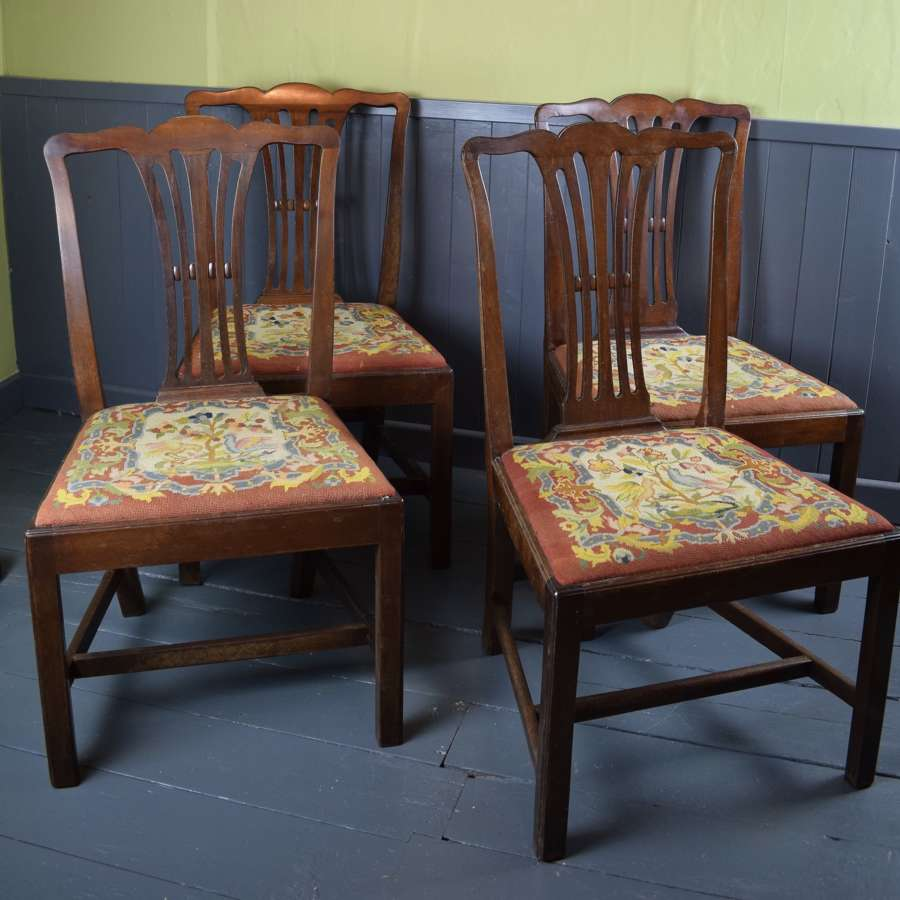 George III Mahogany Dining Chairs with Needlework Seats
