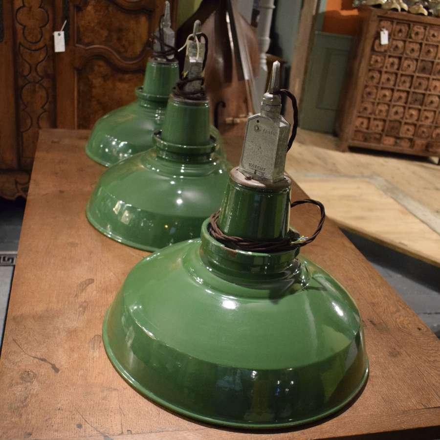 Vintage Green Enamel Industrial Pendant Lamps