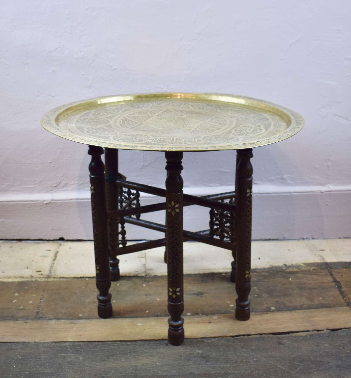 Middle Eastern Brass Tray Top Table upon Inlaid Folding Stand