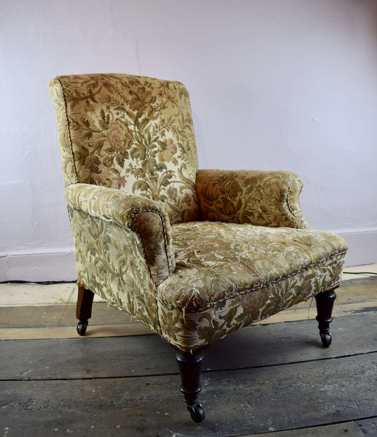 Antique Tapestry Upholstered Library Armchair