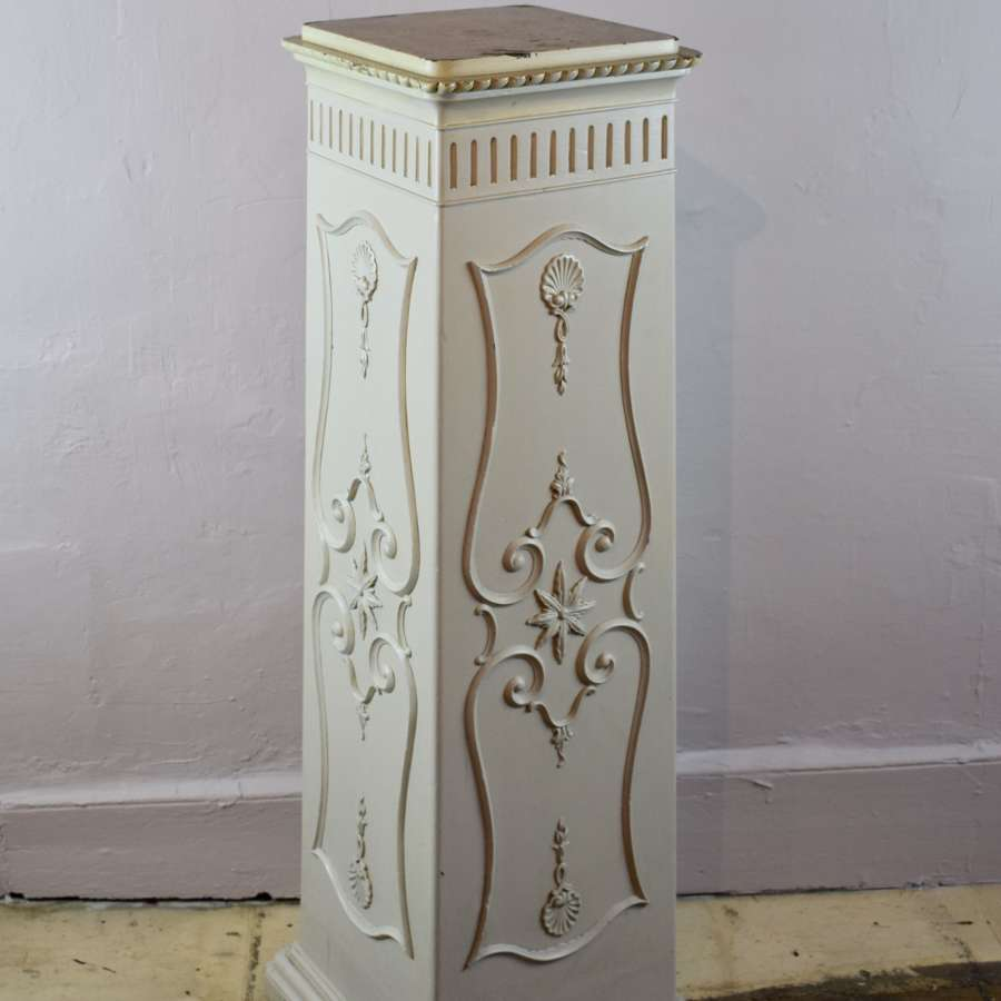 An Edwardian Painted Mahogany Pedestal