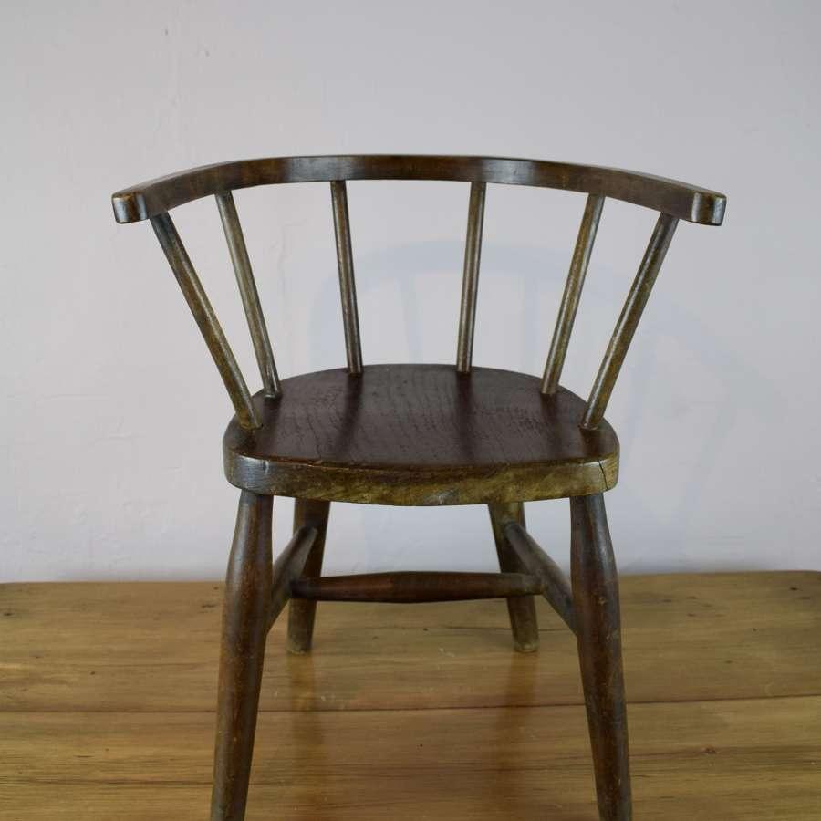 Antique Child's Ash & Elm Bowback Armchair