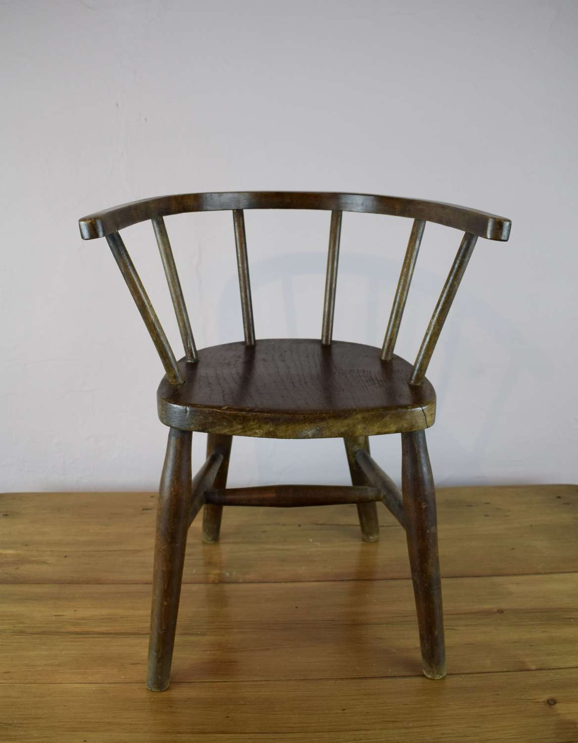 Antique Child's Ash & Elm Bowback Armchair