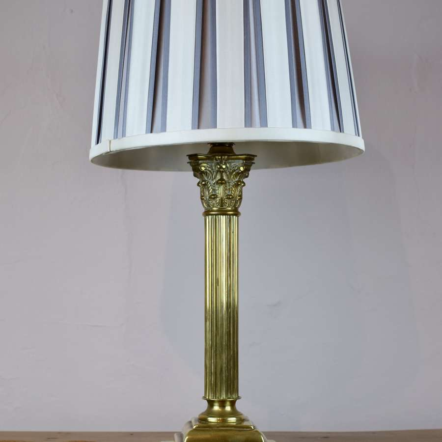 Antique Brass Corinthian Column Table Lamp