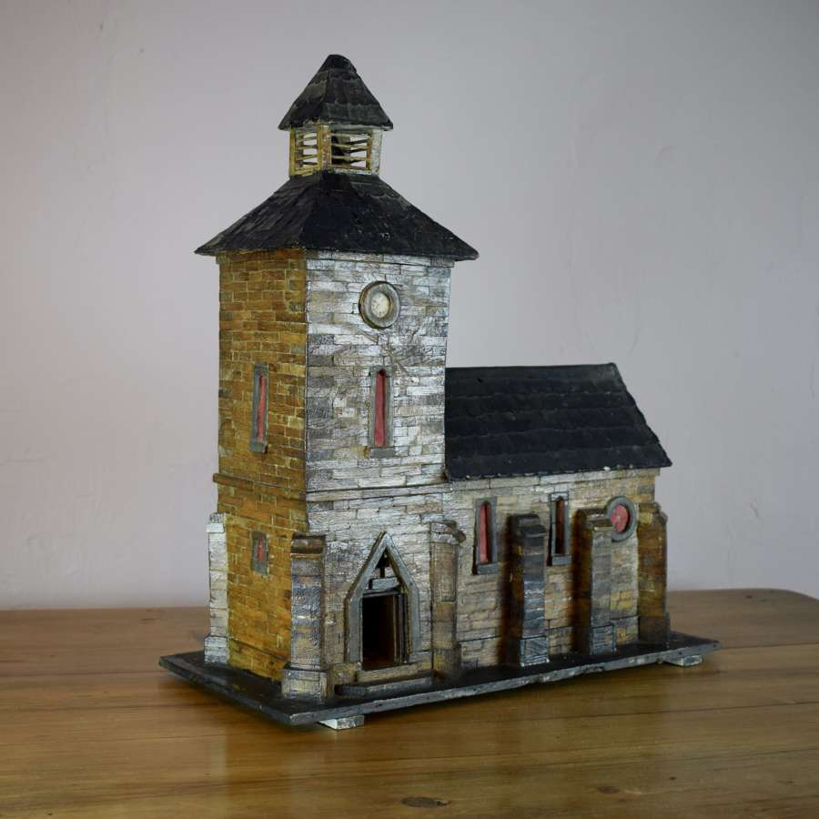 Vintage French Folk Art Model of a Church