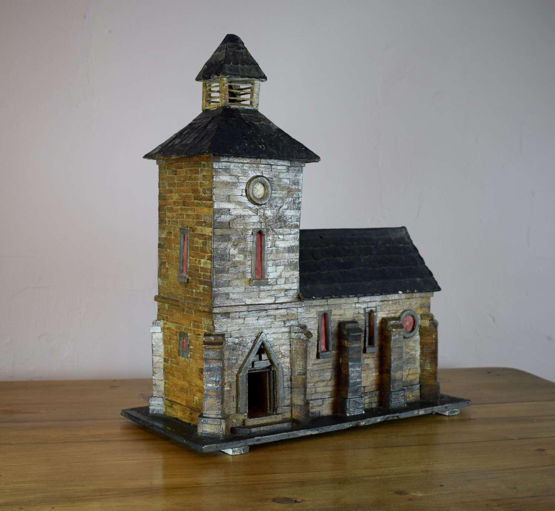 Vintage French Folk Art Model of a Church