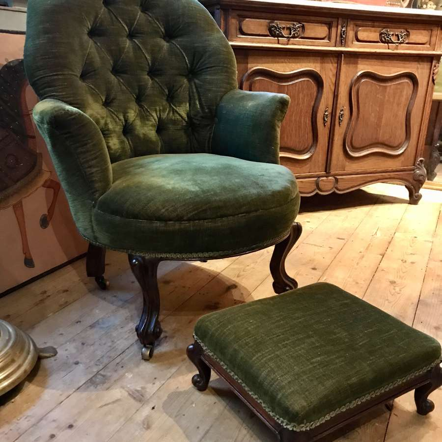 Antique Button Back Armchair and Footstool
