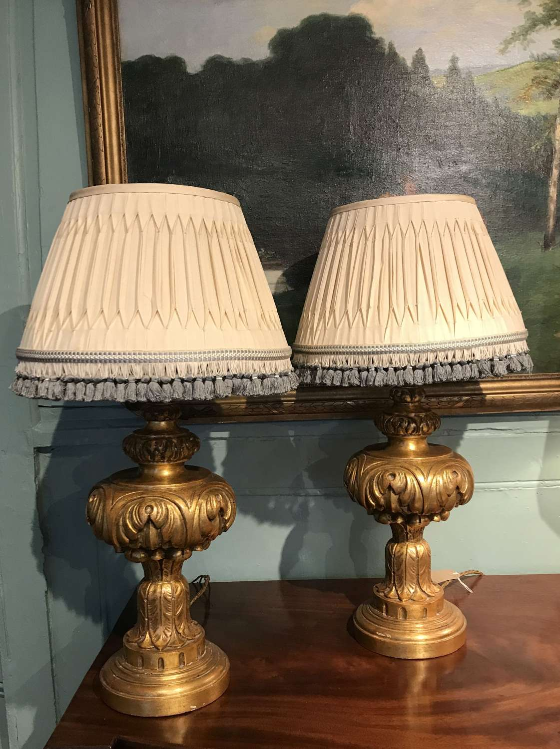 Pair of Carved & Giltwood Table Lamps