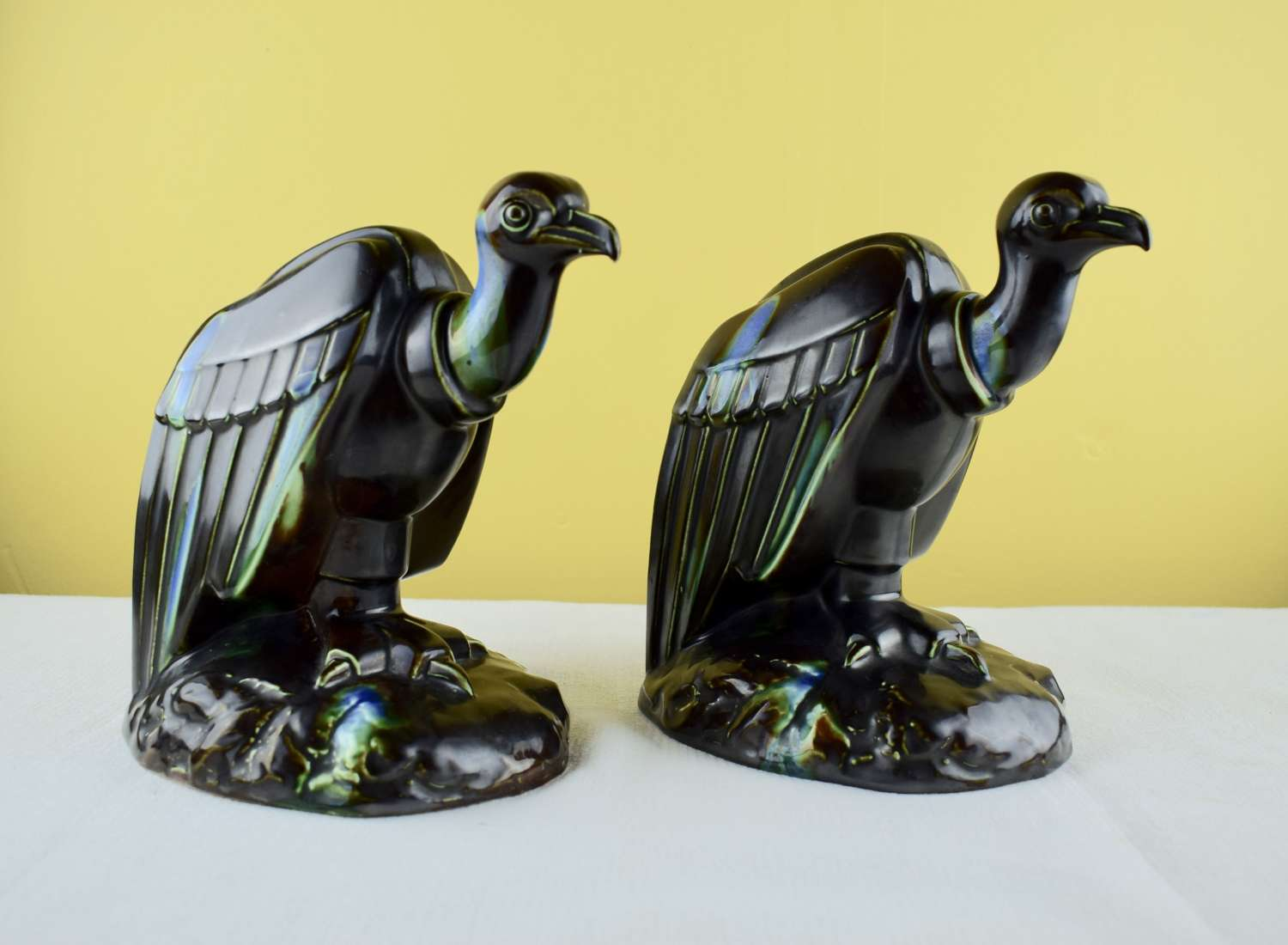 Pair of French Art Deco Pottery Vulture Bookends
