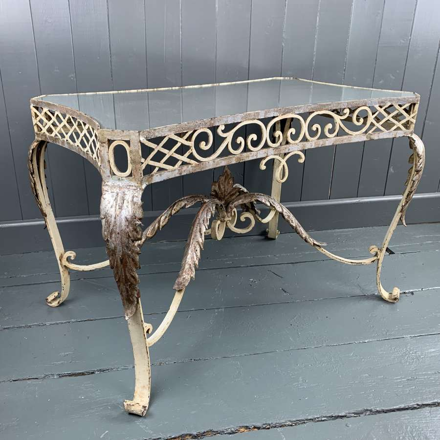Vintage French Wrought Iron & Mirror Glass Table