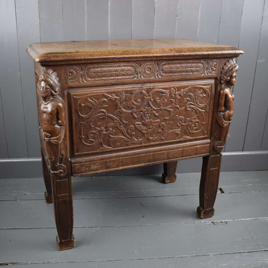 Small Antique Carved Oak Coffer with Native American Caryatids