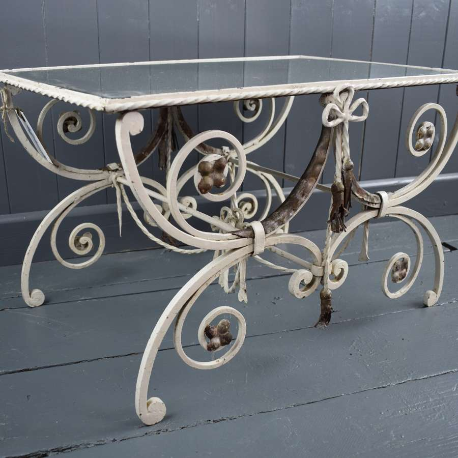 A French Wrought Iron & Mirror Glass Table