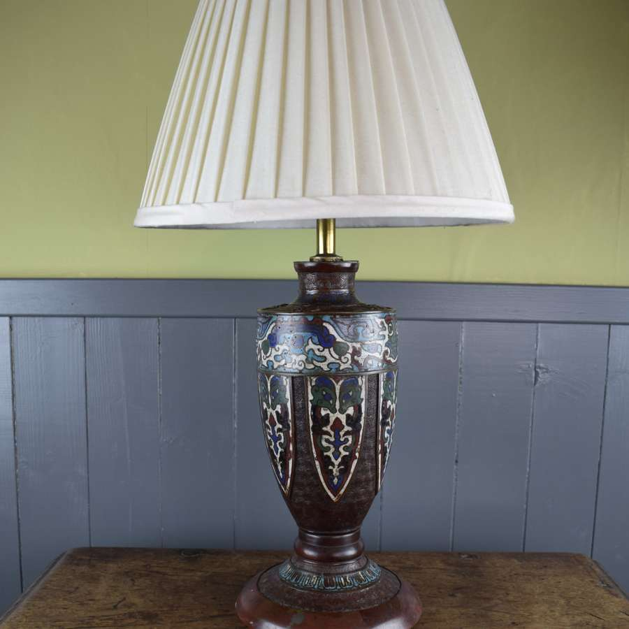 Chinese Cloisonne Enamel & Bronze Table Lamp