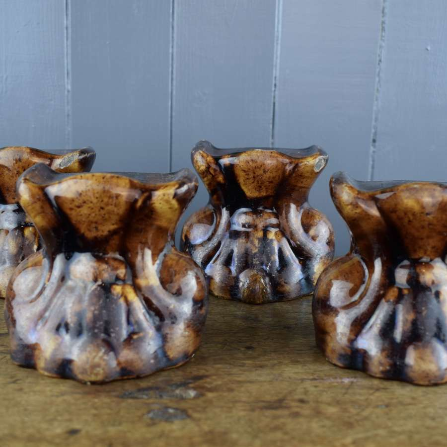 Four Rockingham Treacle Glazed Lion Paw Furniture Supports