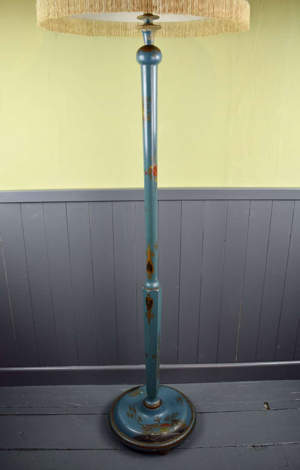 Antique Blue Chinoiserie Standard Lamp