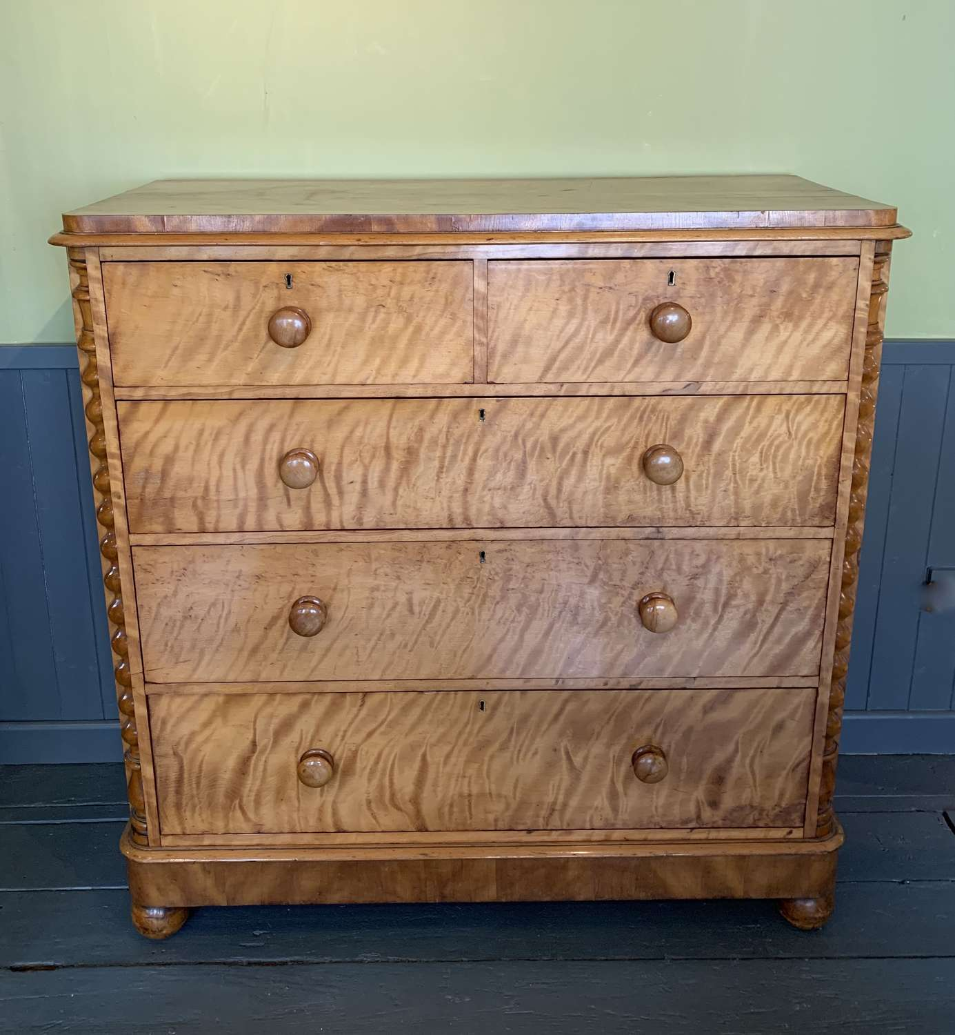 Large Victorian Satin Birch Chest of Drawers