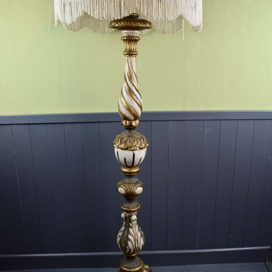 Italian Carved Giltwood and Painted Standard Lamp