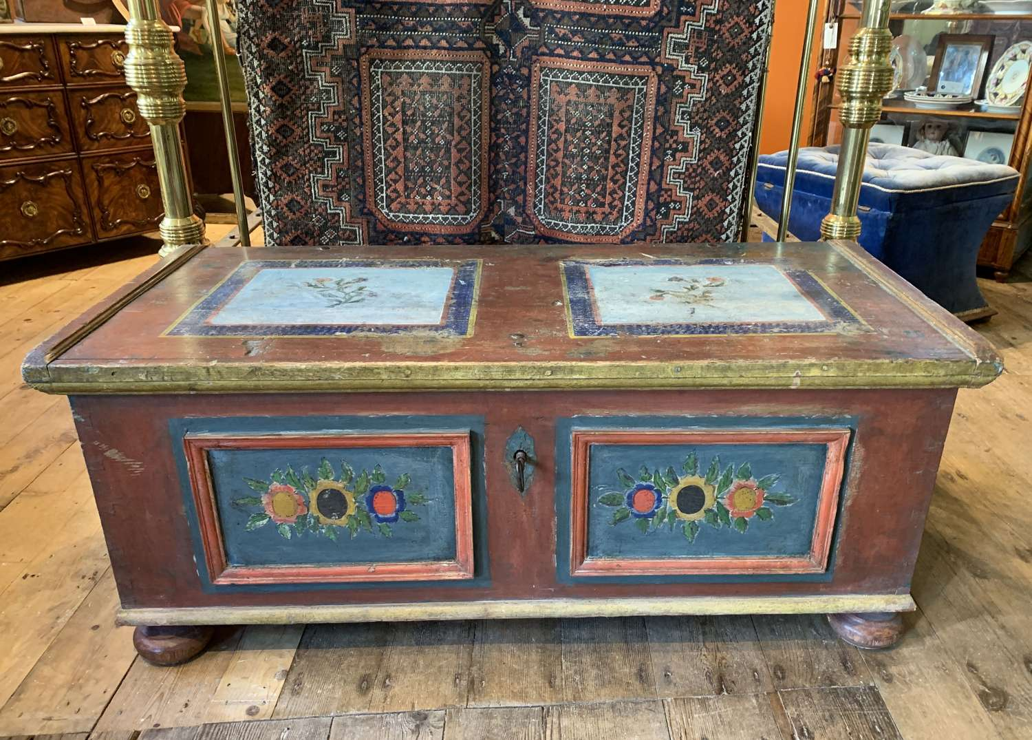 Antique Swedish Painted Folk Art Coffer