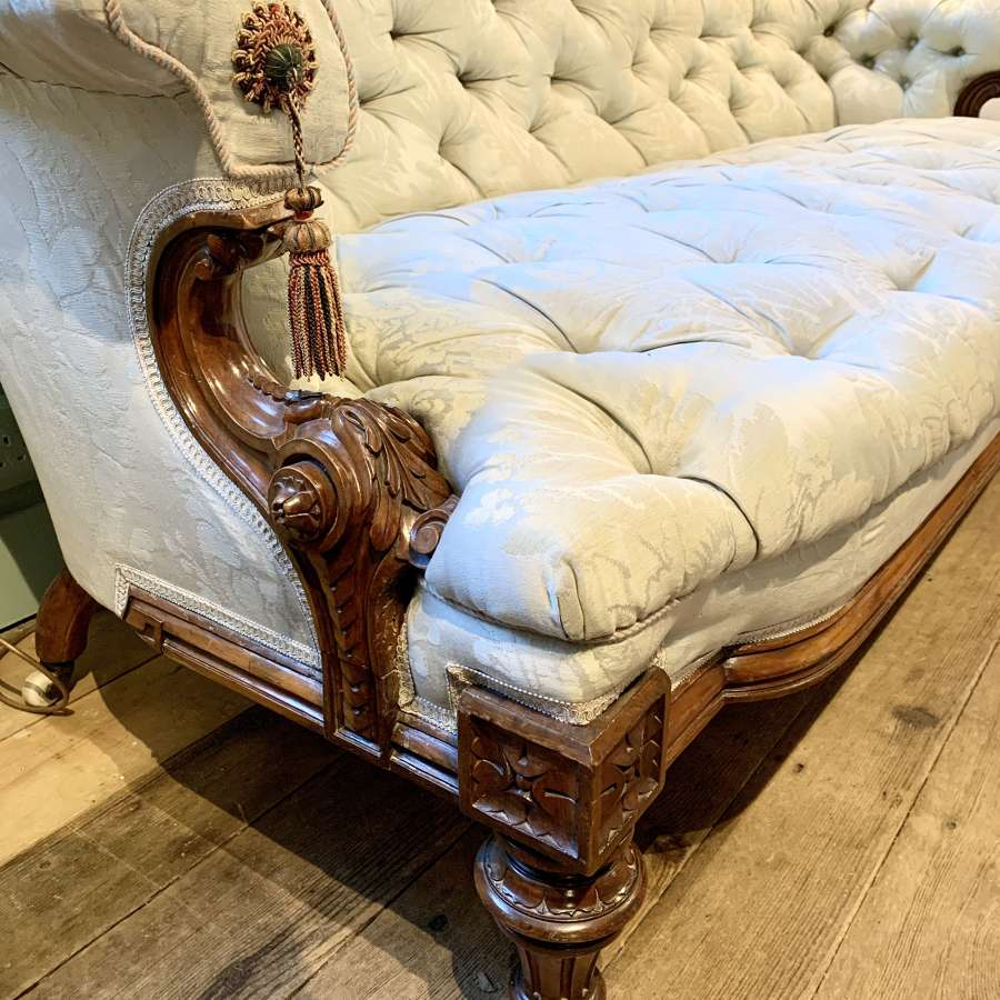 Victorian Button Back Walnut Sofa