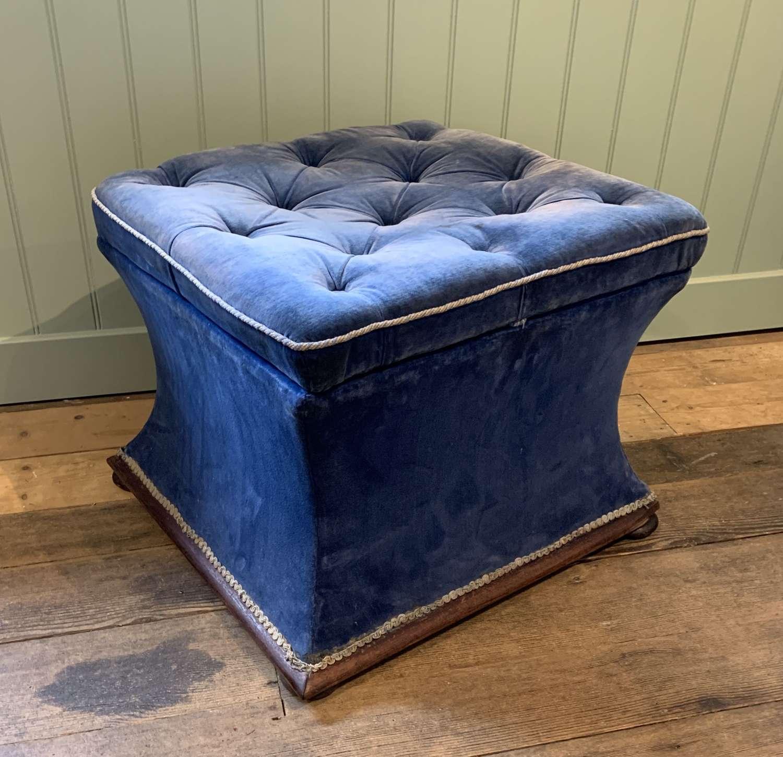 Victorian Velvet Upholstered Box Ottoman / Stool