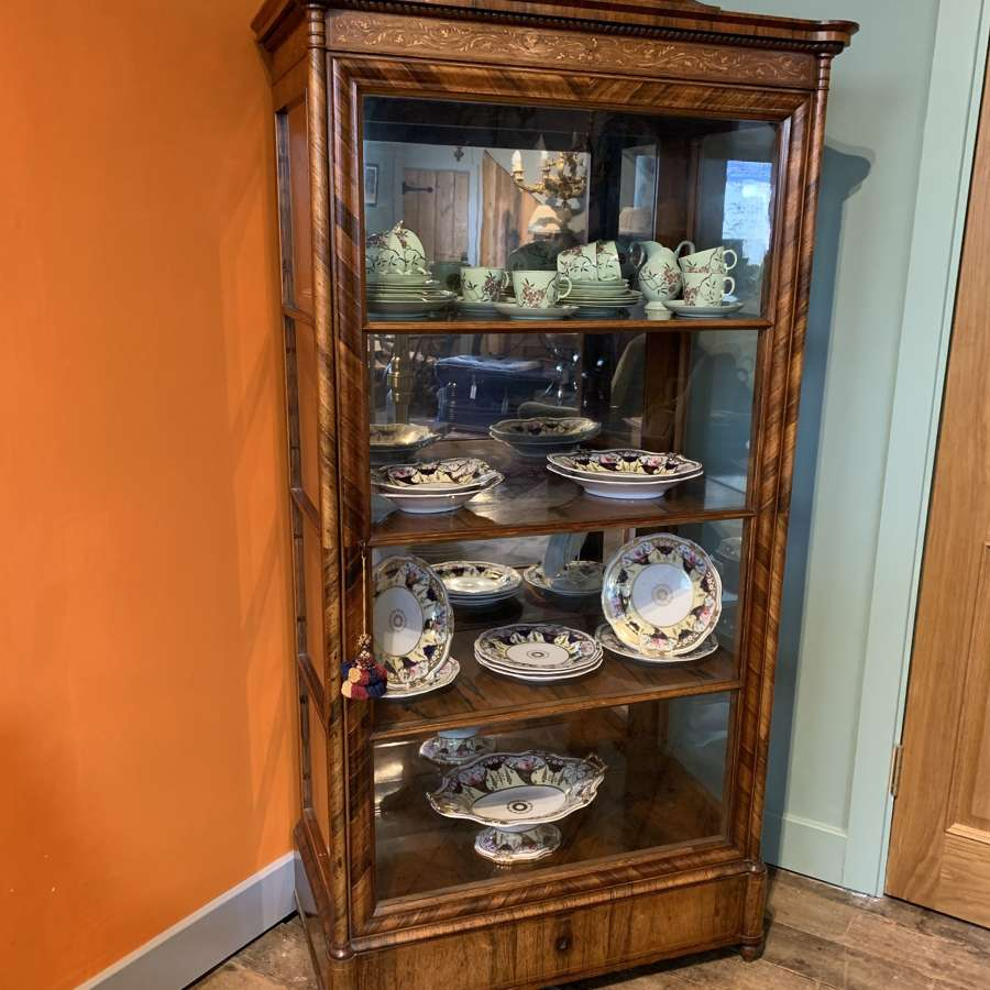 Fine Quality Antique Inlaid Rosewood Display Cabinet
