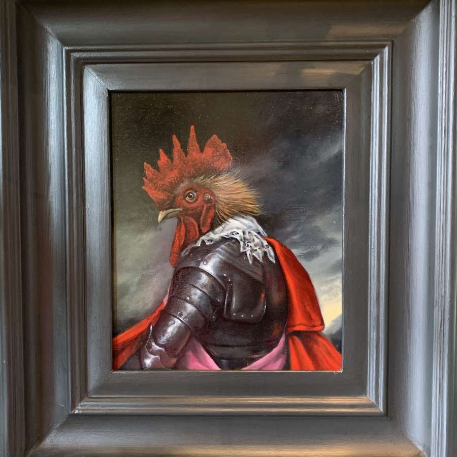 Oil Portrait of a Cockerel in Armour
