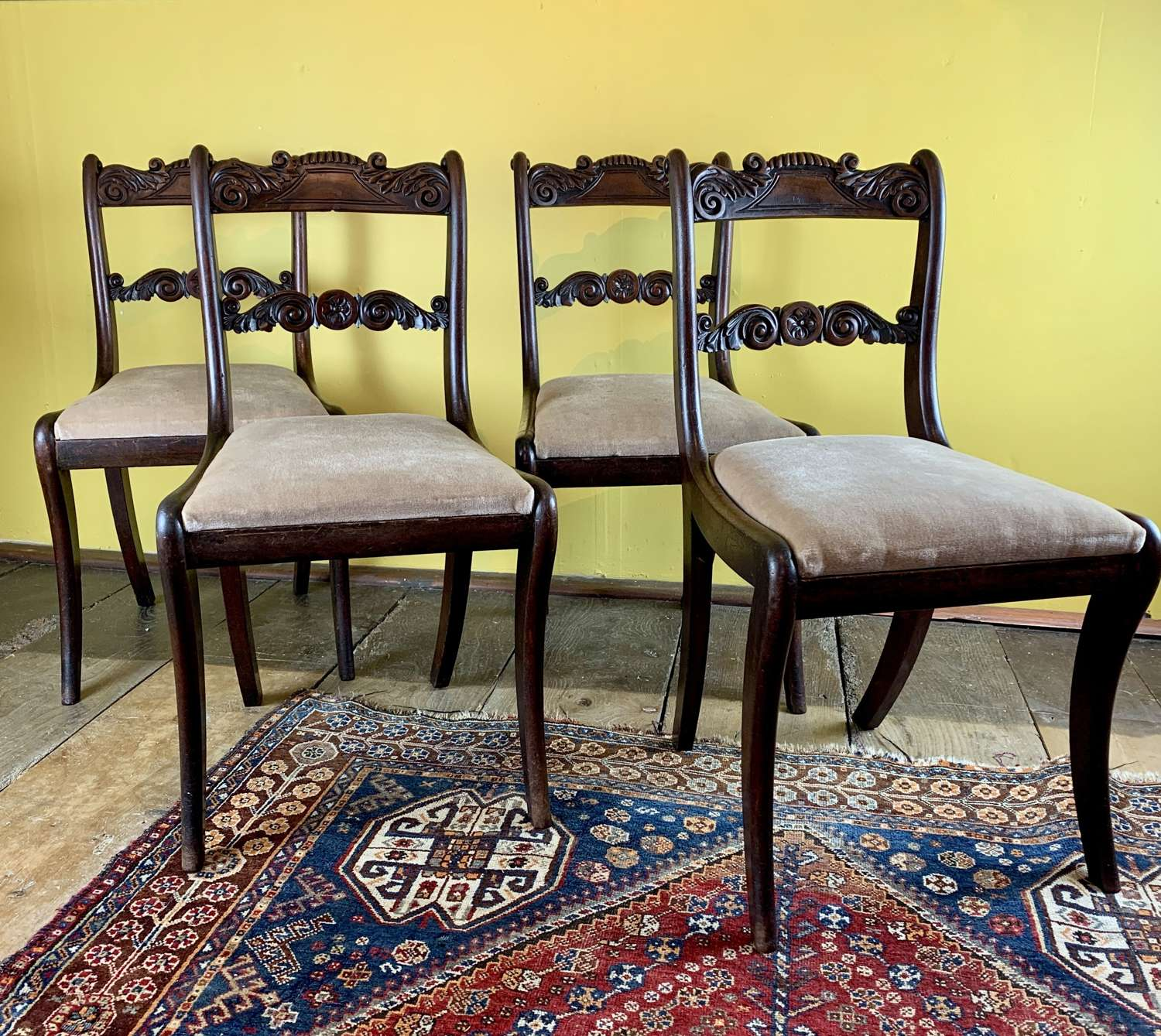 Set of Four Regency Mahogany Dining Chairs