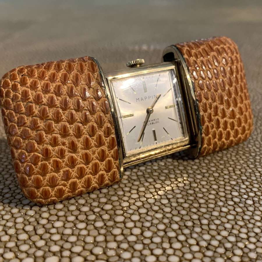 Art Deco Mappin Lizard Skin Travel Watch