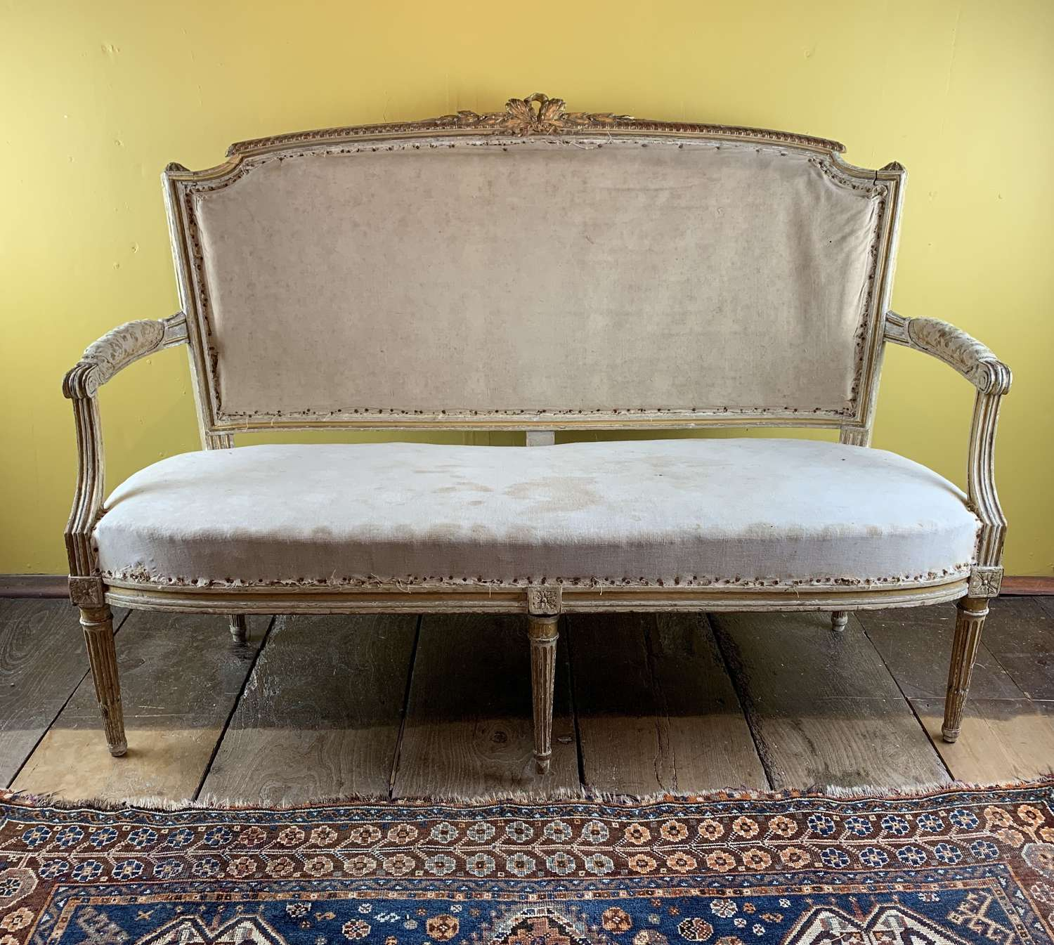 Antique French Painted & Giltwood Sofa in Louis XVI Style