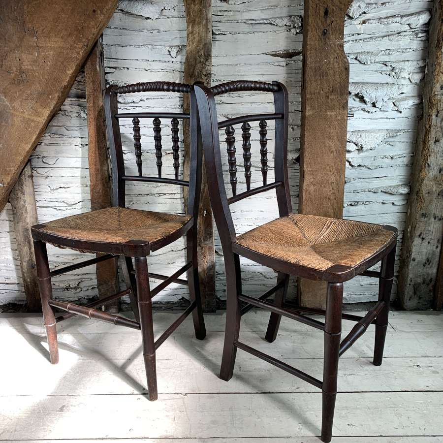 Pair of Regency Faux Bamboo Chairs with Rush Seats