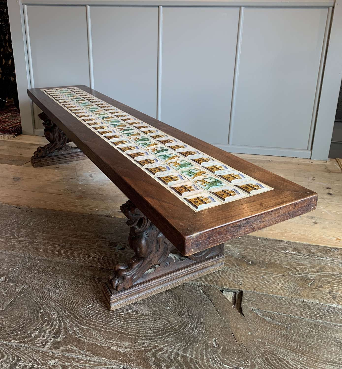 Unusual Tile Top Bench with Carved Oak Griffin Supports