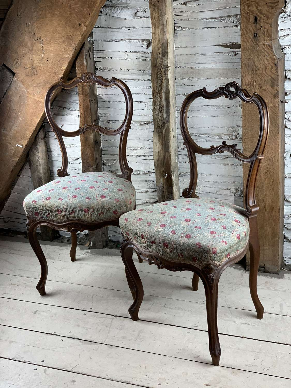 Pair of French Walnut Bedroom Chairs in Louis XV Style