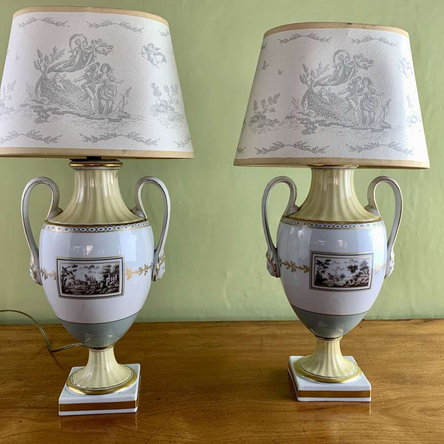 Pair of Richard Ginori Hand Painted Porcelain Vase Lamps